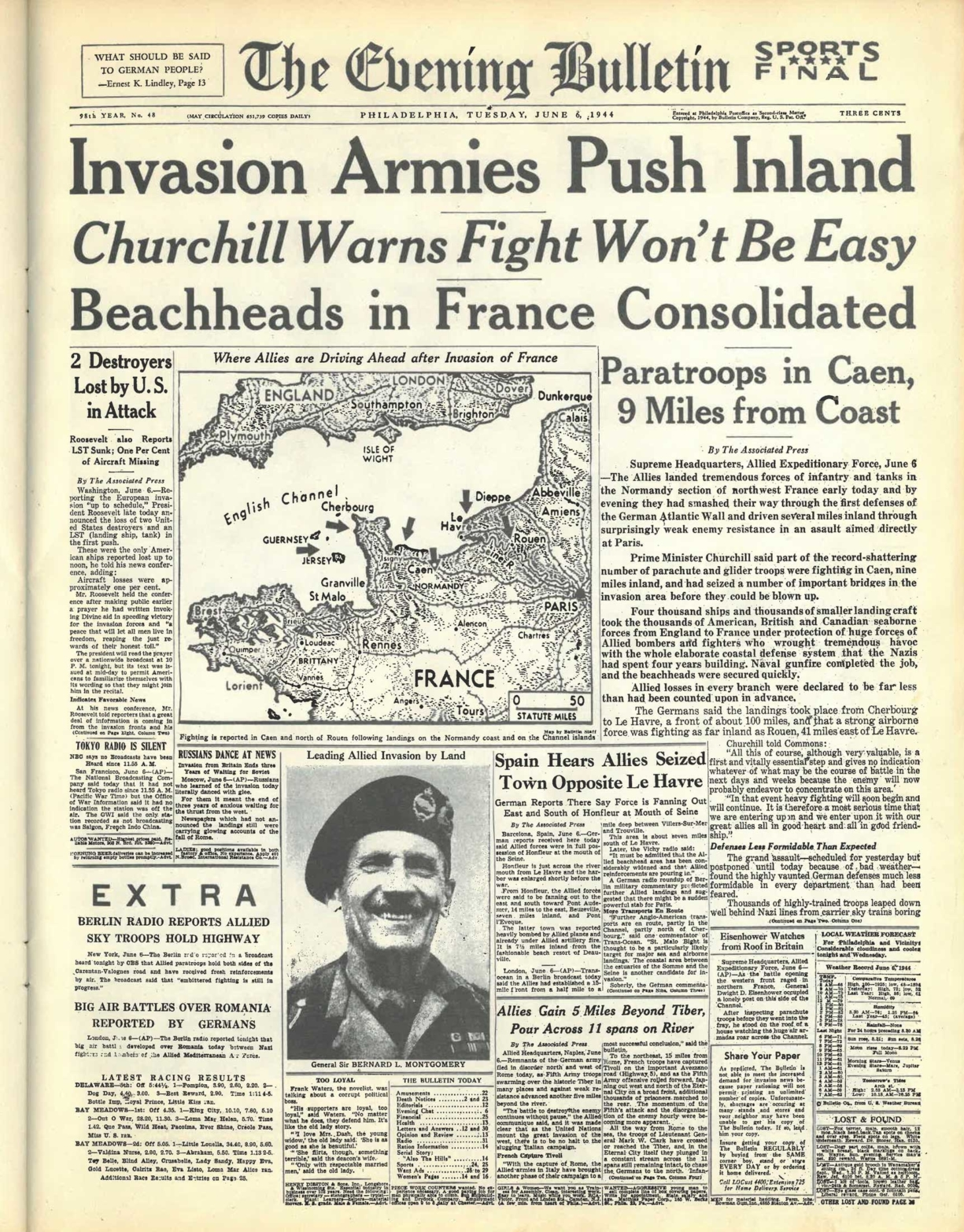 "Image of The Evening Bulletin Newspaper Covering D-Day ""Invasion Armies Push Inland"""
