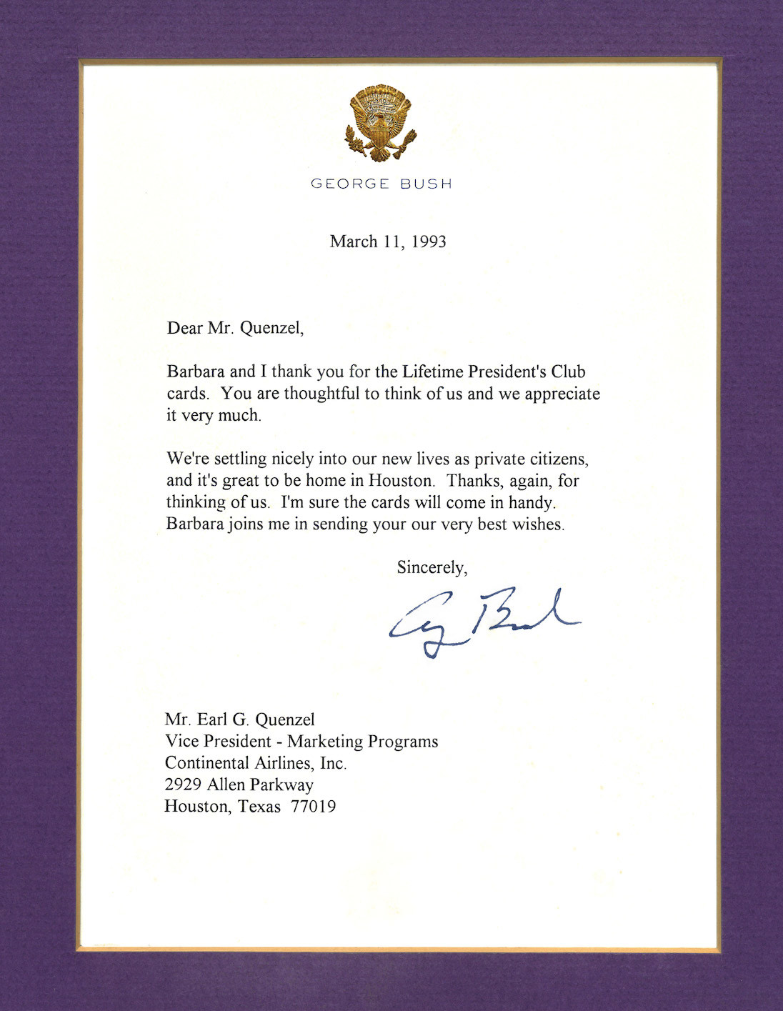 George H. W. Bush - Presidents Club Thank You Letter