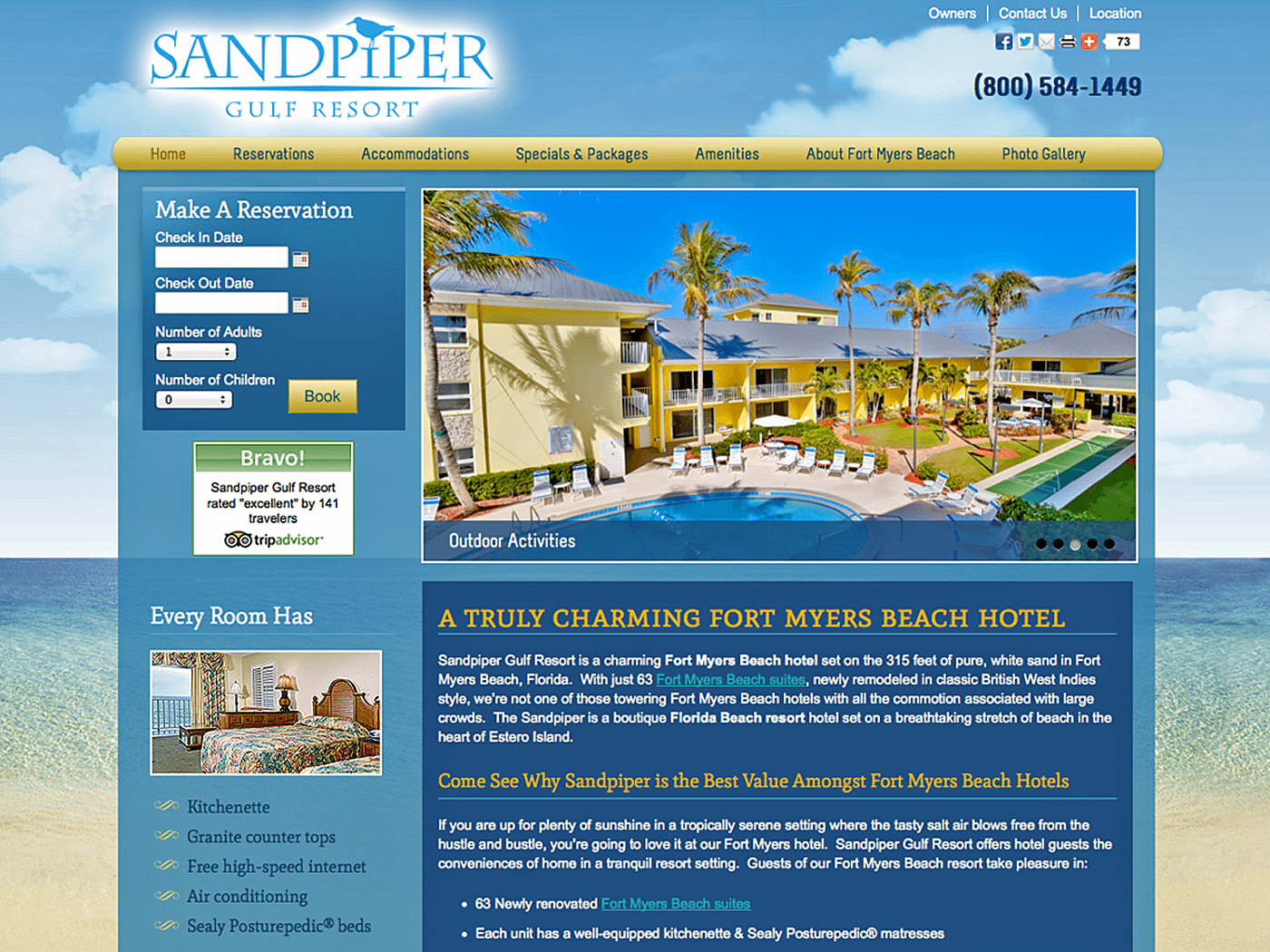 Hotel Website Design Agency Creative | SandPiper Gulf Resort