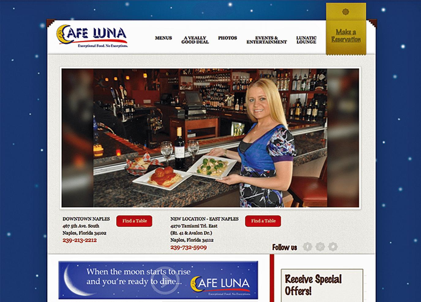 Restaurant Website Design Agency | Restaurant Website Design Creative for Cafe Luna